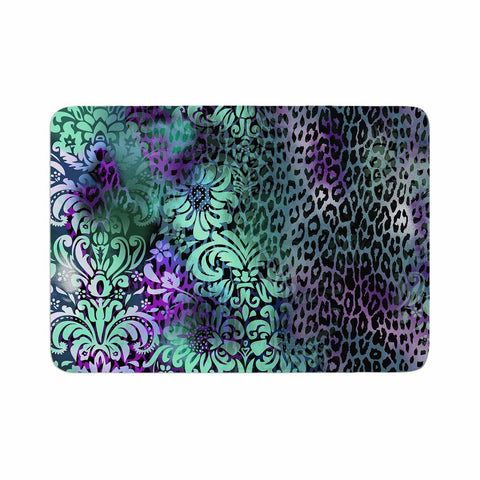 "Victoria Krupp ""Baroque Animal"" Purple Teal Fantasy Animals Digital Illustration Memory Foam Bath Mat"