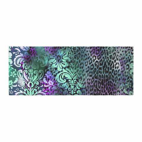 "Victoria Krupp ""Baroque Animal"" Purple Teal Fantasy Animals Digital Illustration Bed Runner"