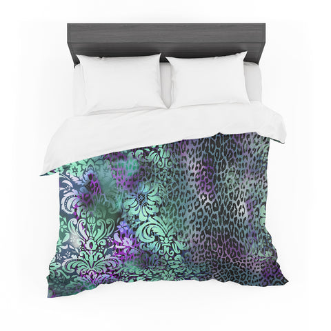 "Victoria Krupp ""Baroque Animal"" Purple Teal Fantasy Animals Digital Illustration Featherweight Duvet Cover"