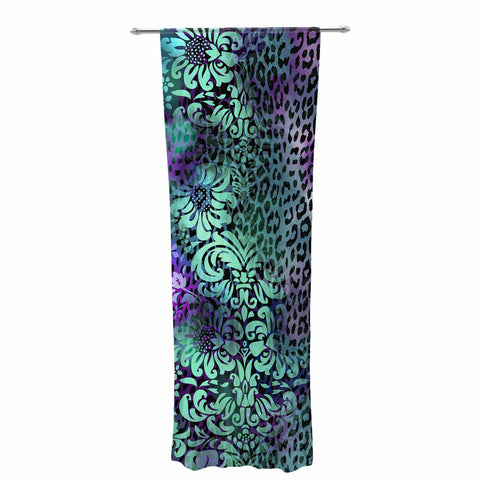 "Victoria Krupp ""Baroque Animal"" Purple Teal Fantasy Animals Digital Illustration Decorative Sheer Curtain"