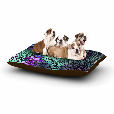 "Victoria Krupp ""Baroque Animal"" Purple Teal Fantasy Animals Digital Illustration Dog Bed"