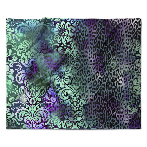 "Victoria Krupp ""Baroque Animal"" Purple Teal Fantasy Animals Digital Illustration Fleece Throw Blanket"