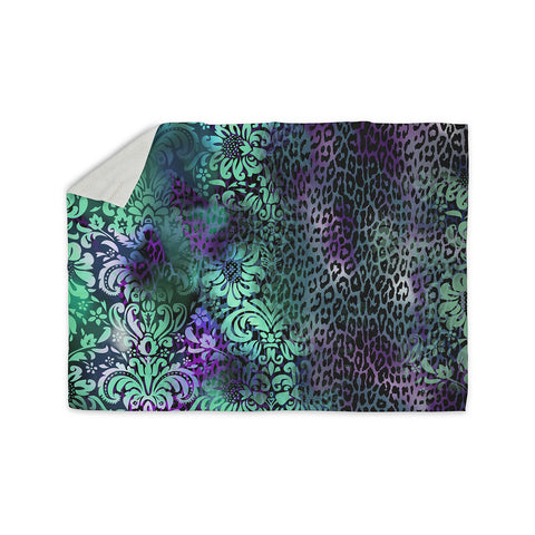 "Victoria Krupp ""Baroque Animal"" Purple Teal Fantasy Animals Digital Illustration Sherpa Blanket"