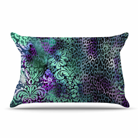 "Victoria Krupp ""Baroque Animal"" Purple Teal Fantasy Animals Digital Illustration Pillow Sham"