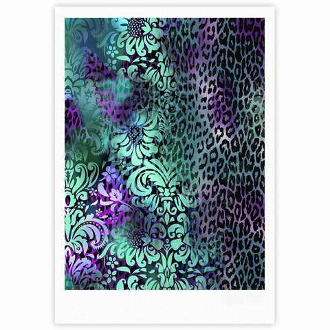 "Victoria Krupp ""Baroque Animal"" Purple Teal Fantasy Animals Digital Illustration Fine Art Gallery Print"