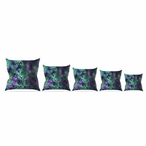 "Victoria Krupp ""Baroque Animal"" Purple Teal Fantasy Animals Digital Illustration Outdoor Throw Pillow"