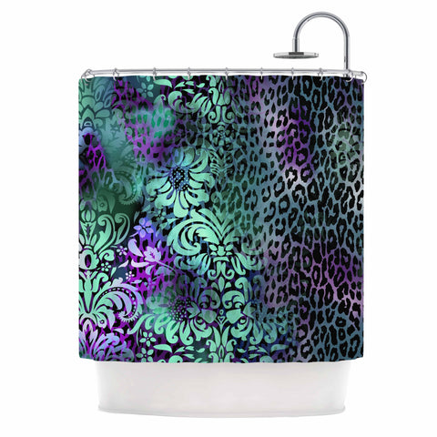 "Victoria Krupp ""Baroque Animal"" Purple Teal Fantasy Animals Digital Illustration Shower Curtain"