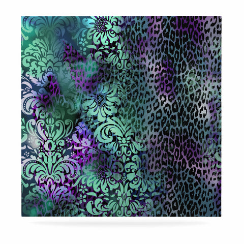 "Victoria Krupp ""Baroque Animal"" Purple Teal Fantasy Animals Digital Illustration Luxe Square Panel"