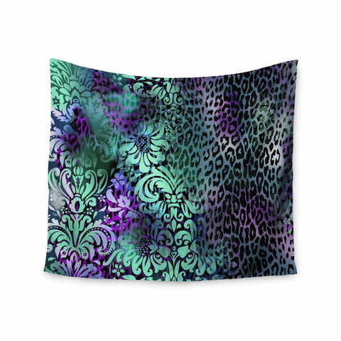 "Victoria Krupp ""Baroque Animal"" Purple Teal Fantasy Animals Digital Illustration Wall Tapestry"