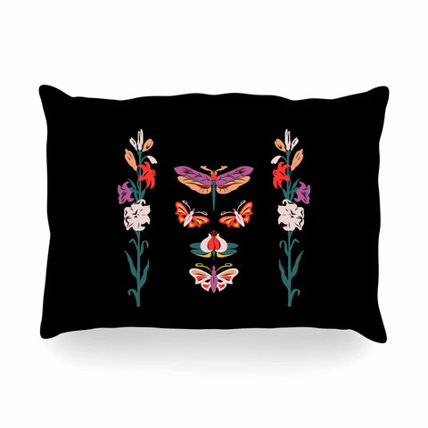 "Victoria Krupp ""Timeless"" Magenta Black Modern Fantasy Vector Illustration Oblong Pillow"