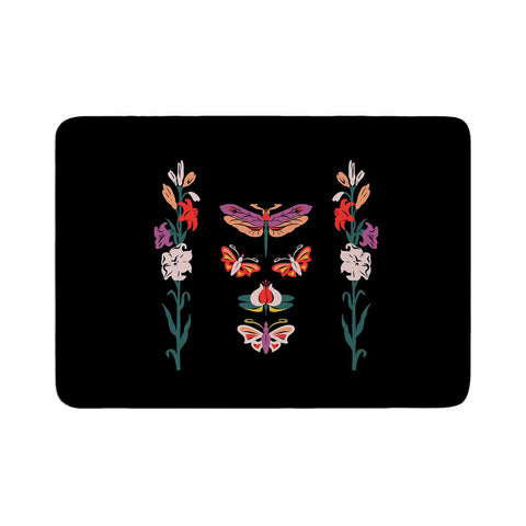 "Victoria Krupp ""Timeless"" Magenta Black Modern Fantasy Vector Illustration Memory Foam Bath Mat"
