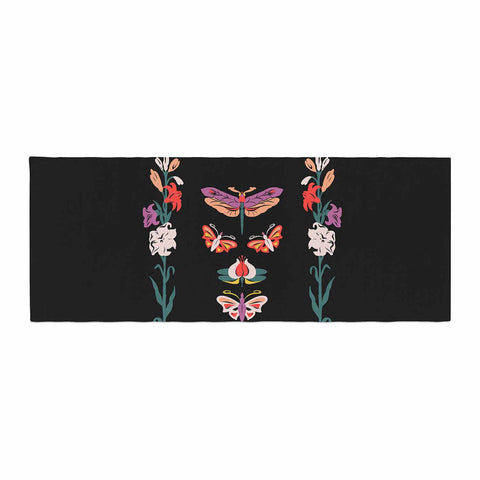 "Victoria Krupp ""Timeless"" Magenta Black Modern Fantasy Vector Illustration Bed Runner"