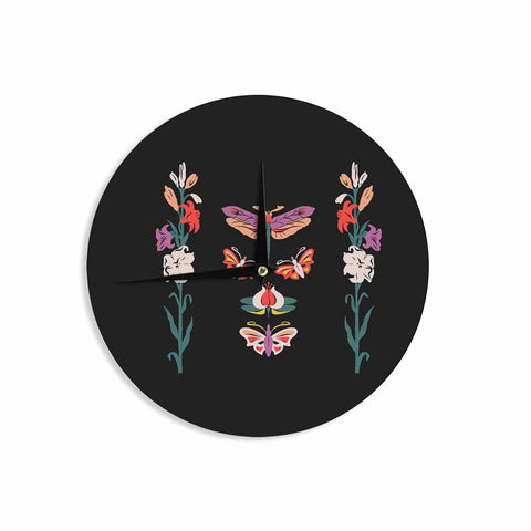 "Victoria Krupp ""Timeless"" Magenta Black Modern Fantasy Vector Illustration Wall Clock"