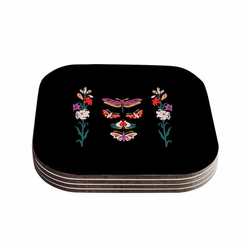 "Victoria Krupp ""Timeless"" Magenta Black Modern Fantasy Vector Illustration Coasters (Set of 4)"