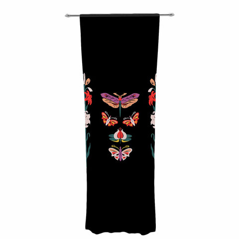 "Victoria Krupp ""Timeless"" Magenta Black Modern Fantasy Vector Illustration Decorative Sheer Curtain"