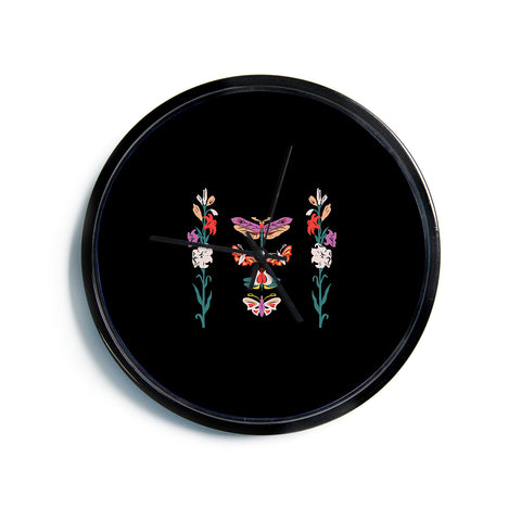 "Victoria Krupp ""Timeless"" Magenta Black Modern Fantasy Vector Illustration Modern Wall Clock"
