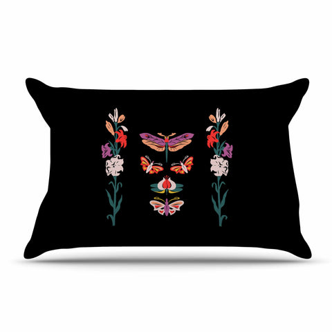 "Victoria Krupp ""Timeless"" Magenta Black Modern Fantasy Vector Illustration Pillow Sham"