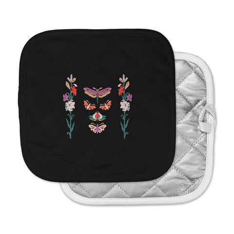 "Victoria Krupp ""Timeless"" Magenta Black Modern Fantasy Vector Illustration Pot Holder"