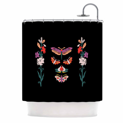 "Victoria Krupp ""Timeless"" Magenta Black Modern Fantasy Vector Illustration Shower Curtain"