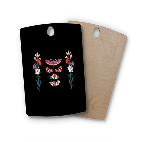"Victoria Krupp ""Timeless"" Magenta Black Modern Fantasy Vector Illustration Rectangle Wooden Cutting Board"