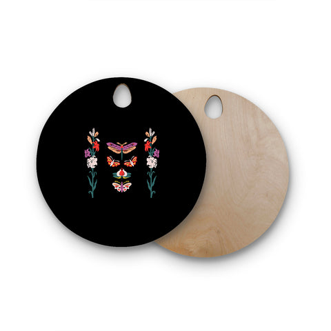 "Victoria Krupp ""Timeless"" Magenta Black Modern Fantasy Vector Illustration Round Wooden Cutting Board"