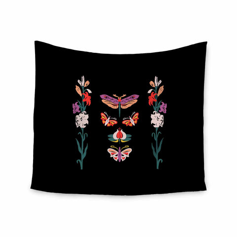 "Victoria Krupp ""Timeless"" Magenta Black Modern Fantasy Vector Illustration Wall Tapestry"
