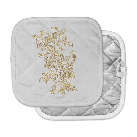 "888 Design ""Golden Vintage Rose"" Floral Digital Pot Holder"