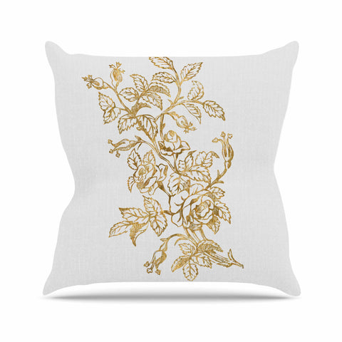 "888 Design ""Golden Vintage Rose"" Floral Digital Throw Pillow - KESS InHouse  - 1"