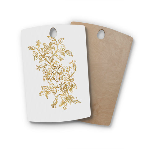 "888 Design ""Golden Vintage Rose"" Floral Digital Rectangle Wooden Cutting Board"