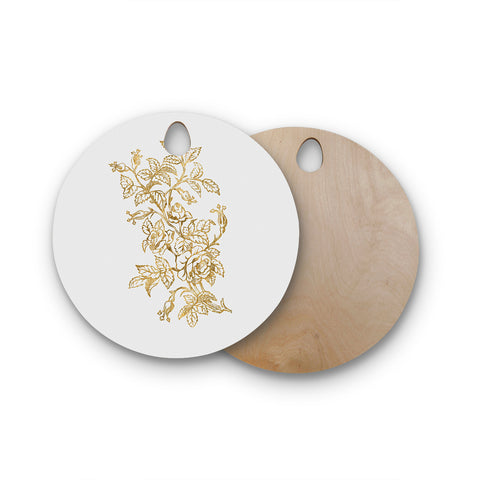 "888 Design ""Golden Vintage Rose"" Floral Digital Round Wooden Cutting Board"