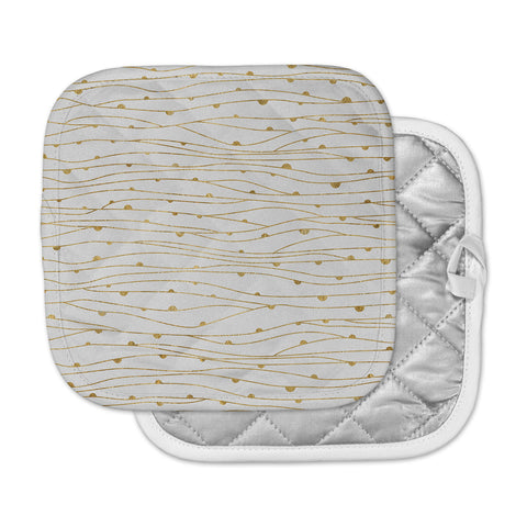 "888 Design ""Golden Stripes Pattern"" Abstract Gold Pot Holder"