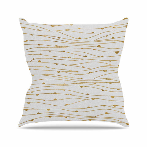 "888 Design ""Golden Stripes Pattern"" Abstract Gold Throw Pillow - KESS InHouse  - 1"