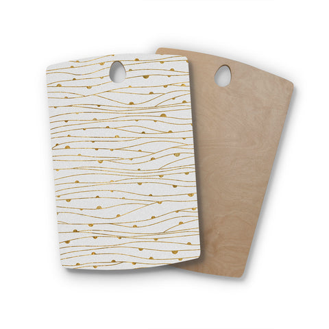 "888 Design ""Golden Stripes Pattern"" Abstract Gold Rectangle Wooden Cutting Board"