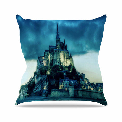 "888 Design ""Haunted Castle"" Blue Fantasy Throw Pillow - KESS InHouse  - 1"