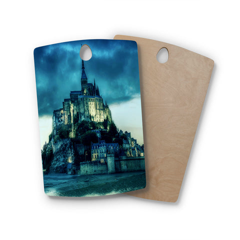 "888 Design ""Haunted Castle"" Blue Fantasy Rectangle Wooden Cutting Board"