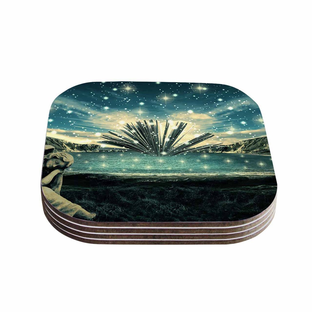 "888 Design ""The Knowledge Keeper"" Blue Fantasy Coasters (Set of 4)"
