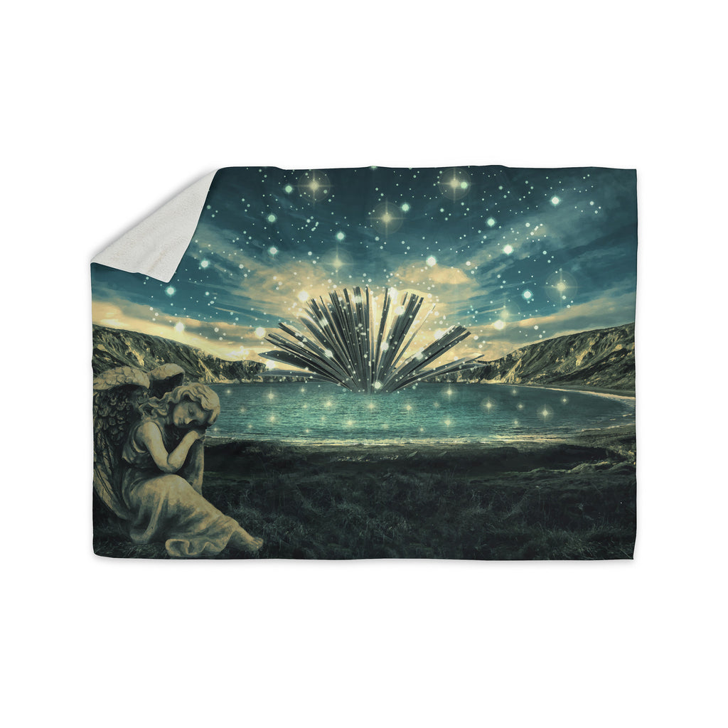 "888 Design ""The Knowledge Keeper"" Blue Fantasy Sherpa Blanket - KESS InHouse  - 1"