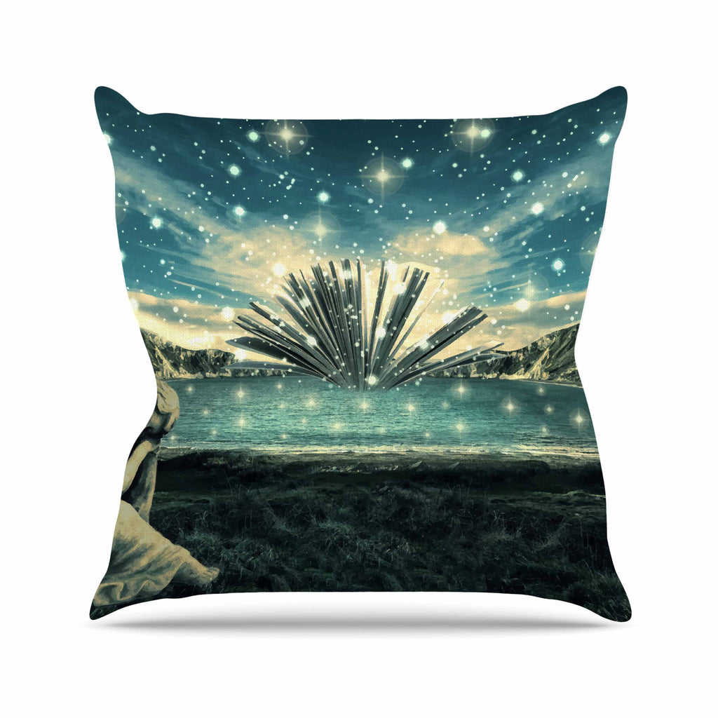 "888 Design ""The Knowledge Keeper"" Blue Fantasy Throw Pillow - KESS InHouse  - 1"