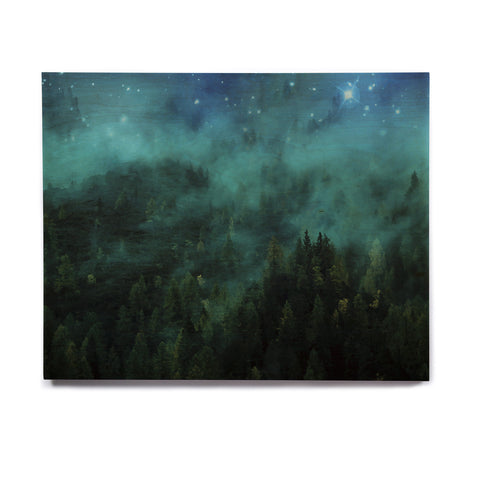 "888 Design ""Forest Night"" Green Digital Birchwood Wall Art - KESS InHouse  - 1"