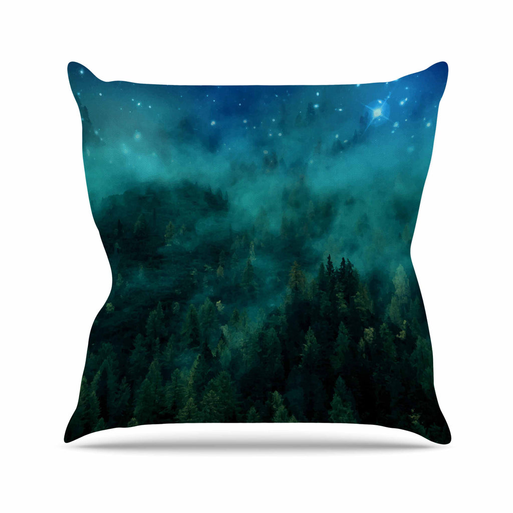 "888 Design ""Forest Night"" Green Digital Outdoor Throw Pillow - KESS InHouse  - 1"
