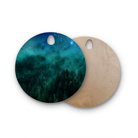 "888 Design ""Forest Night"" Round Wooden Cutting Board"