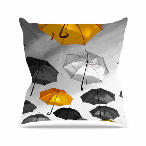 "888 Design ""Umbrellas"" Orange Black Throw Pillow - KESS InHouse  - 1"