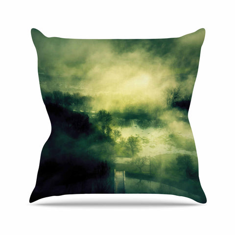 "888 Design ""Dark Mystical Landscape "" Green Black Throw Pillow"
