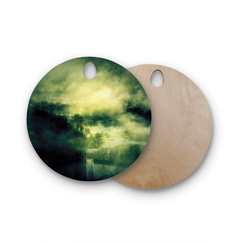 "888 Design ""Dark Mystical Landscape"" Round Wooden Cutting Board"