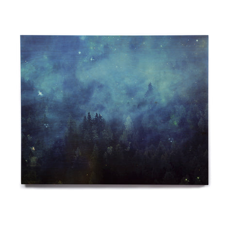 "888 Design ""Blue Night Forest"" Blue Black Birchwood Wall Art - KESS InHouse  - 1"