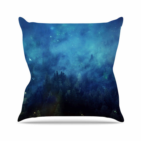 "888 Design ""Blue Night Forest"" Blue Black Throw Pillow"