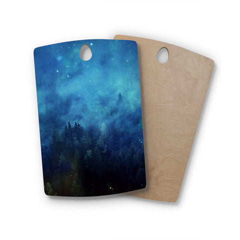 "888 Design ""Blue Night Forest"" Rectangle Wooden Cutting Board"