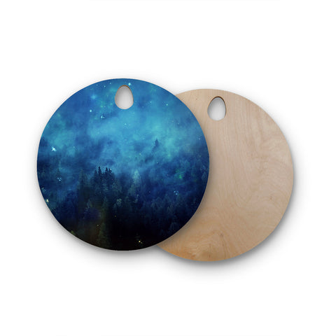 "888 Design ""Blue Night Forest"" Round Wooden Cutting Board"