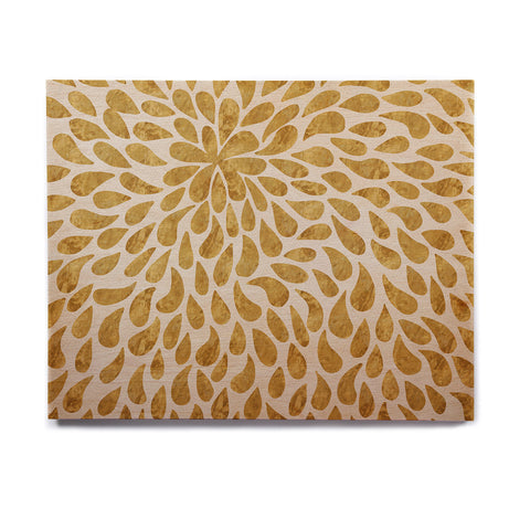 "888 Design ""Abstract Golden Flower"" Gold Tan Birchwood Wall Art - KESS InHouse  - 1"