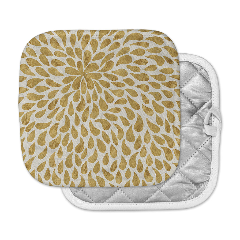 "888 Design ""Abstract Golden Flower"" Gold Tan Pot Holder"